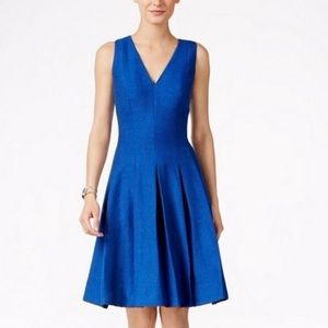 NWT Anne Klein Mariner Blue V-Neck Pleated Dress